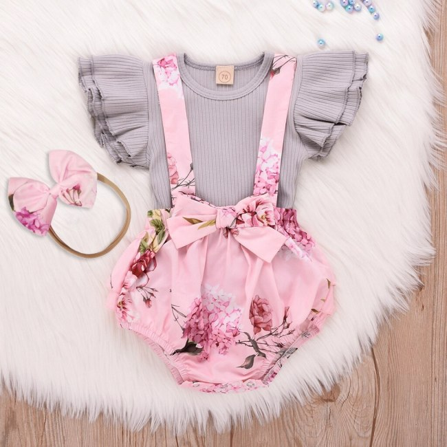 Fashion baby girl clothes Toddler Infant Baby Girl Sleeveless O-Neck Ruffle Tops Overall printing Clothes Set
