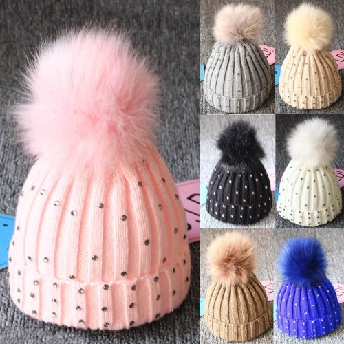 Autumn winter children hair ball single ball knit hat Baby Diamond Knitting Wool Hemming Hat