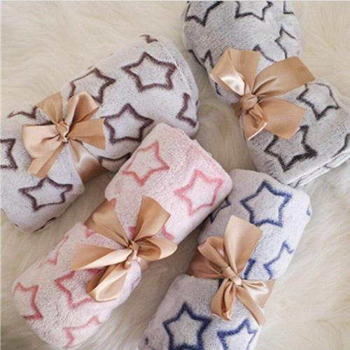 80x100cm Baby Blanket Star Fleece Thermal soft Flannel Swaddle Wrap Stroller Sleep Cover kids Bed Sofa Nap Blankets Bath Towels
