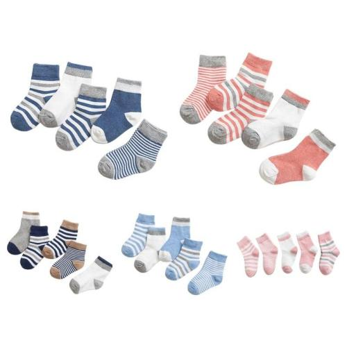 5 Pairs/Sets New Boys Girls Cute Cartoon Stripe Pattern Cotton Socks Childrens Kids Novelty Design