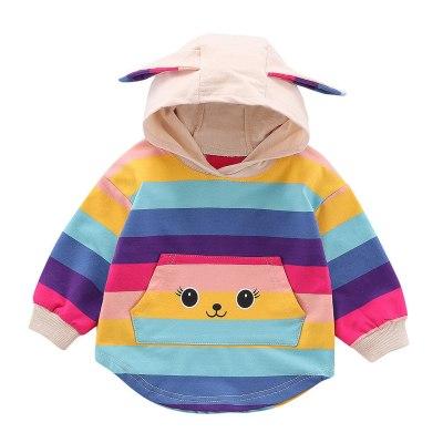 Trendy Fall Sweatshirt Kids Infant Baby Girls Ranibow 3D Rabbite Ear Print Hooded Pullover Top Sweatshirts