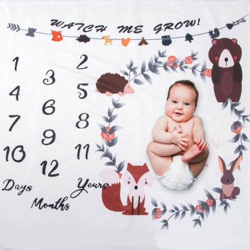 Baby Milestone Blanket Newborn Photo Background Cloth Infants Monthly Record Growth Swaddle Wrap Photography Prop