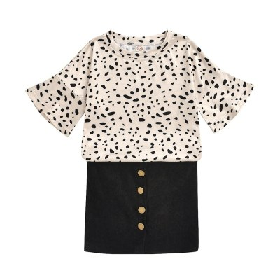 Hot sale baby girl clothes Summer fashion Kids Baby Girls Leopard Tops+Solid Skirts Outfits Clothes