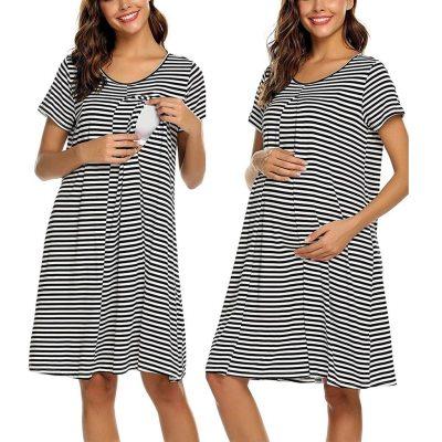Maternity Nightwear Women Pregnancy Short Sleeve Stripe Nursing Baby Nightdress Breastfeeding Dress
