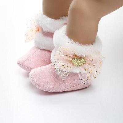 Autumn winter baby toddler boots beautiful flowers bow plus soft bottom warm boots baby toddler boots for 0-18 month