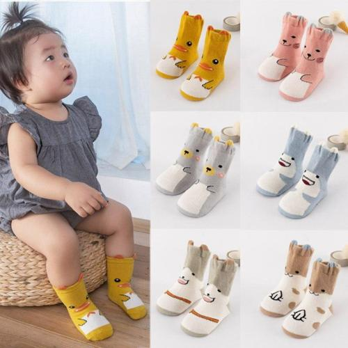 Newborn Baby Cartoon Print Sole Soft Sock Boys Girls Infant Toddler Anti-slip Floor Socks