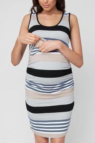 2020 Summer Maternity Dress Women Maternity Sleeveless Comfy Stripe Print Nursing Dress For Breastfeeding