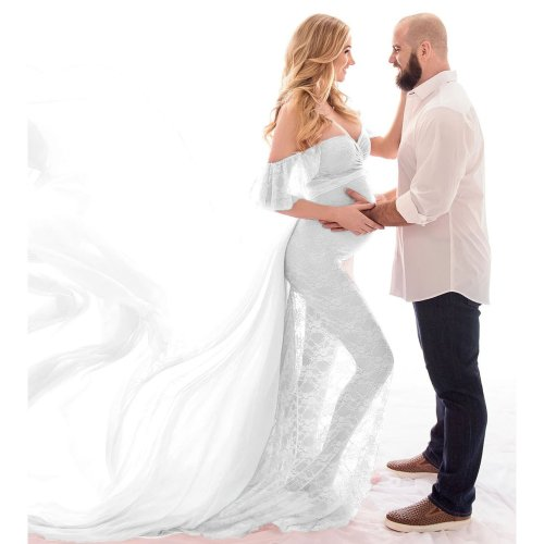 Maternity Solid Color Lace See-Through Photo Shoot Dress