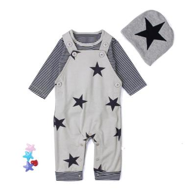 3PCS baby boy clothes Set fashion Newborn Baby Sets Stripe T-shirt Top Bib Pants Overall Hat Outfits Sets