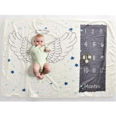 152X102cm Baby Milestone Blanket Angel Wings Photography Prop Flannel Monthly Background Blankets Infant Bedding Swaddle Wraps