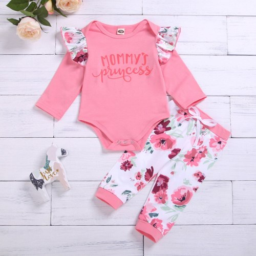 2pcs hot sale Infant Baby Girls Letter Flower Print Romper Pants Outfits Set Fashion Long Sleeve O-neck Baby Girl Clothes