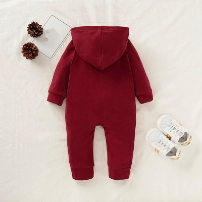 Infant Jumpsuit With Pocket Fashion Solid Single-breasted New Born Baby Clothes