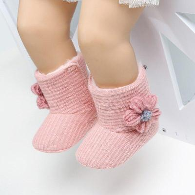 Winter Warm Knit Boots Toddler Infant Soft Sole Shoes Flower Baby Shoes Baby Girls Boot Newborn Boots 0-18M
