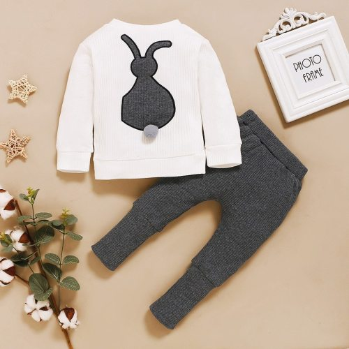 Toddler Baby Boys Girls Clothes Long Sleeve O-neck Bunny Printed Cartoon Rabbit Romper Bodysuit+pants Outfits