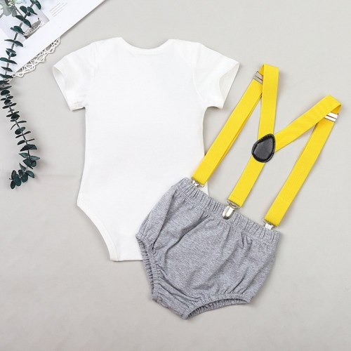 Newborn Baby  Clothes Gentleman  Birthday Romper Straps Shorts Outfits Cartoon Print Sets