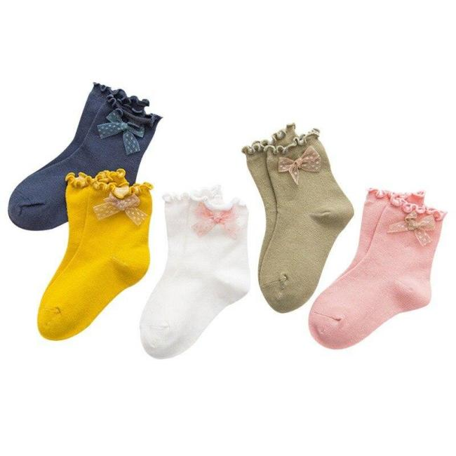 5 Pairs Baby girl socks Bows Princess Socks cute Baby Socks Tube Booties Vertical Striped Toddler Kids Sock 3-13Y