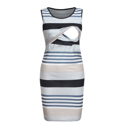 2020 Summer Maternity Dress Women Maternity Sleeveless Comfy Stripe Print Nursing Dress For Breastfeeding
