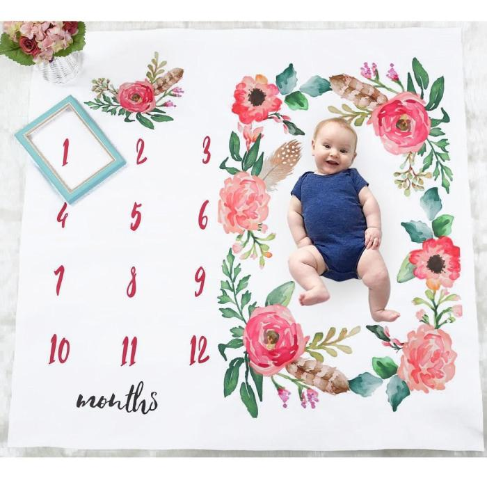 drop ship Newborn Baby Monthly Growth Milestone Blanket Flower Background Cloth Shooting Photo Bedding Wrap Photography Props