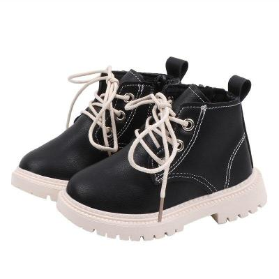Spring Autumn Children Casual Leather Martins Boots Baby Girls Boys Lace-Up Shoes Walking Shoes for Winter