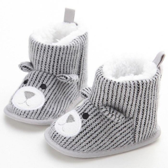 Winter Super Keep Warm Infant Toddler Shoes Boots Booty Newborn Baby Crib Snow Knitting Cute Cartoon Bear Shoes