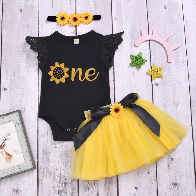 New Infant Baby Girls Clothes Sunflower Print Sleeveless Romper Tulle Dress With Headband Outfits Sets