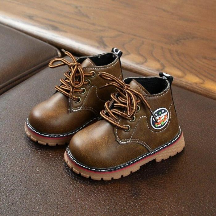 Winter Children Casual Leather Cartoon Print Martins Boots Baby Girls Boys Lace-Up Boots