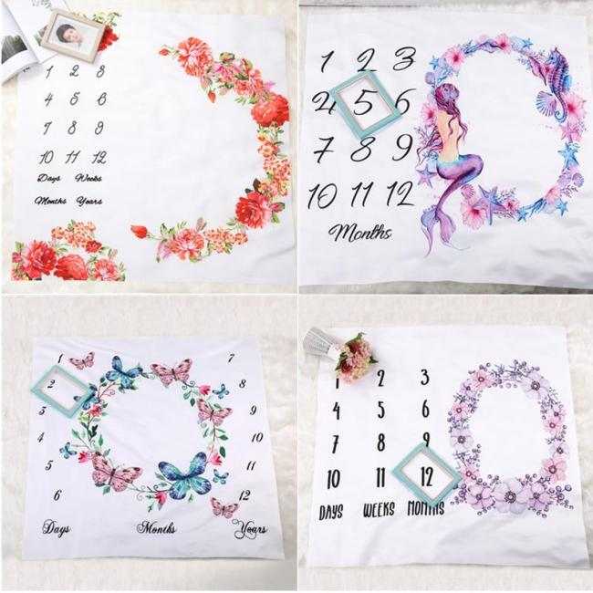 Baby Milestone Blanket Mermaid butterfly Photography Props Shooting Background Cloth Newborns Growth Monthly Souvenir Rug Gift