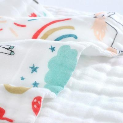 25*50cm Baby Six-layer Pure Cotton Printed Long Square Towel Combed Cotton Long Gauze Towel Newborn Feeding Towel Baby Washing T