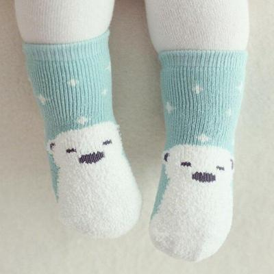 Cute Kid Baby Girl Boy Bear Penguin Pattern Coral Velvet Thick Warm Socks Above Ankle Socks