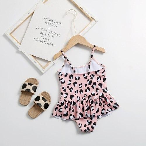 Hot sale baby swimwear summer Kids Girls Leopard Print Straps Ruffle One Piece Swimsuit Swimwear