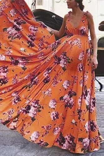 Maternity Fashion Vacation Deep V-Neck Floral Print Maxi Dress
