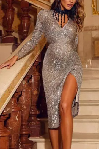 Maternity Party Shiny Long Sleeve Dress