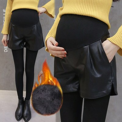 PU Leather Shorts Pregnant Outwear Leggings Maternity Warm Slim Thicken Pants