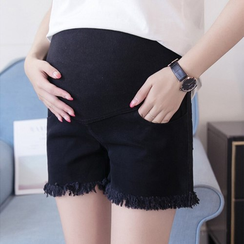 Maternity Short High Waist Support Belt Comfort Pregnant Jeans Denim Pants