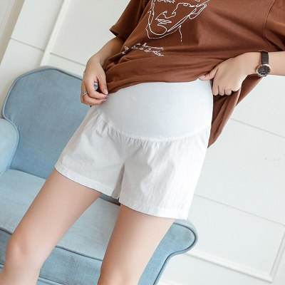 Pure Color Maternity Shorts Pregnant Pants Casual Loose Fitting Plus Size Clothing Elastic Waist Casual Shorts