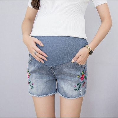 Summer Short Maternity Lace Jeans Pants for Pregnant Women Clothing Pregnancy Clothes Shorts