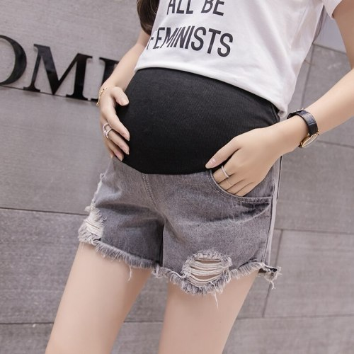 2020 High Waist Denim Maternity Shorts Summer Cool Ripped Jeans Pocket Pants Pregnancy Shorts