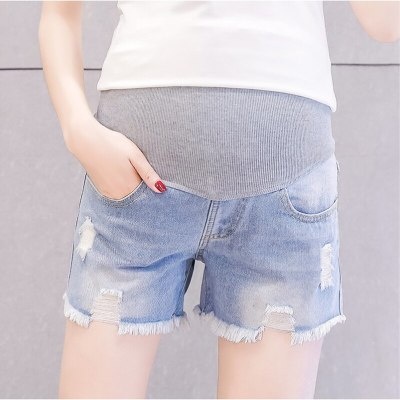 Summer Fashion Denim Maternity Shorts Elastic Waist Belly Short Jeans Clothes for Pregnant Women Hot Ripped Hole Pregnancy
