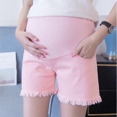 Summer Maternity Short High Waist Support Belt Comfort Pregnancy Shorts Pregnant Jeans Denim Pants Maternity Shorts