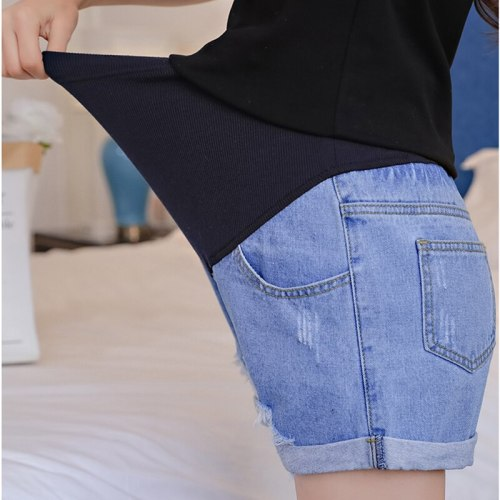 Hole Rolled Up Denim Maternity Shorts High Waist Adjustable Belly Short Jeans