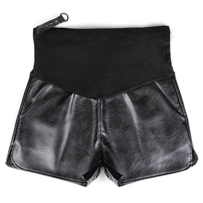 2020 Elastic Waist PU Leather Shorts Maternity Belly Pants Spring Summer Pregnancy  Shorts