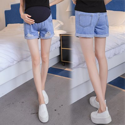 Hole Rolled Up Denim Maternity Shorts High Waist Adjustable Belly Short Jeans Clothes for Pregannt Women Pants
