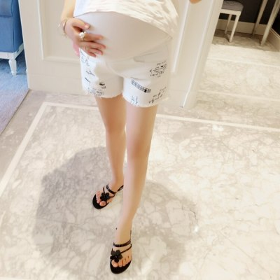 White Denim Shorts Maternity Clothes Jeans for Pregnant Women Pregnancy Loose Trousers Dresses Broken Hole Clothing Maternity
