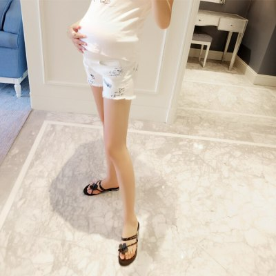 White Denim Shorts Maternity Clothes Jeans for Pregnant Women Pregnancy Loose Trousers