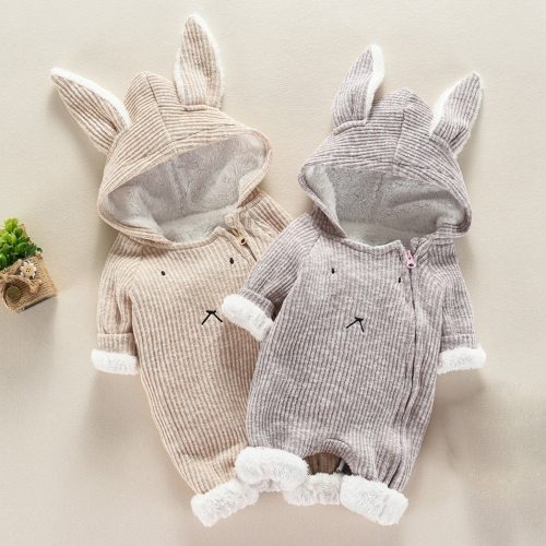 Toddler Infant Baby Clothing Boys Girls Kawaii Cartoon Hooded 3D Ear Romper Jumpsuit Winter Warmer Coats