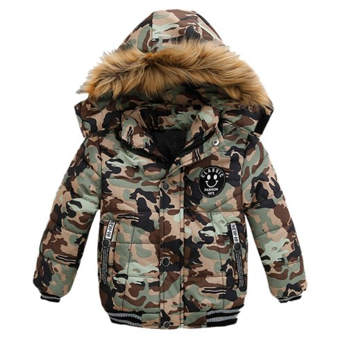 Kids Boys Jackes Autumn Winter Warm Fur Collar Jackets For Boys Coat Kids Zipper Hooded Down Outerwear Clothes Children Jacket