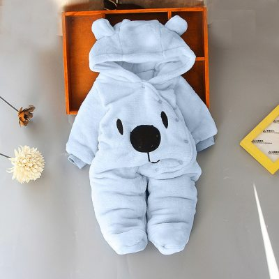 Newborn Baby Solid Cartoon Bear Print Clothing Toddler Velvet Hooded Jumpsuit Girls Boys Winter Warmer Romper Children Clothes