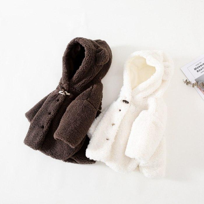 2020 Warm Winter Girls Boy Kids Coat Jackets Children Baby Infants Cashmere Ear Hooded Thicken Outwear Coat