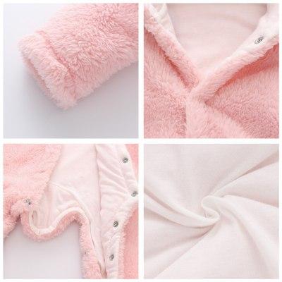 Cute Newborn Infant Hooded Jumpsuit Jacket Outerwear Baby Boy Girls Winter New Thicken Coat Toddler Cotton Warm Romper