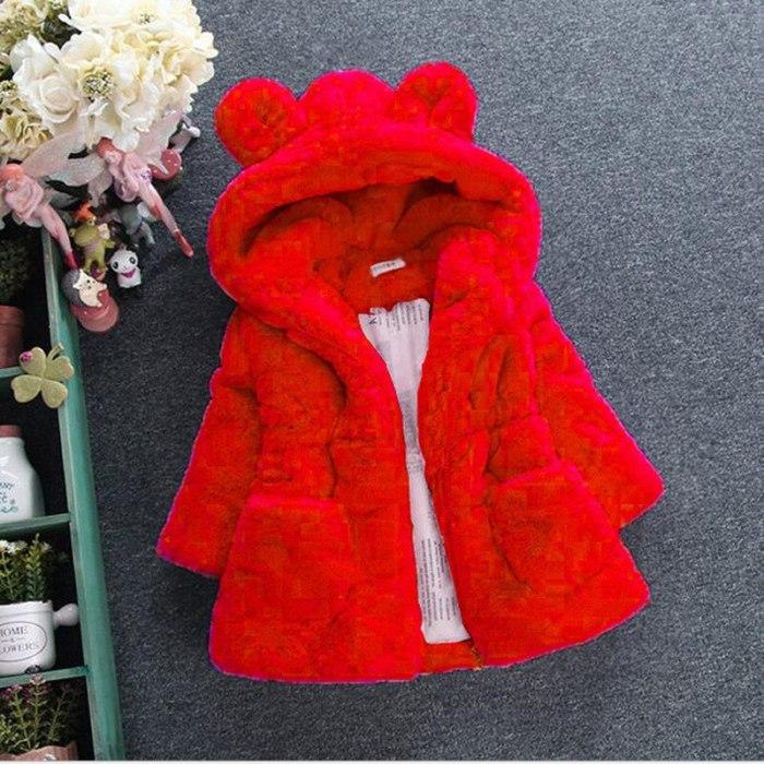 Faux Fur Winter Girls' Wool Sweater Baby Girls Fur Padded Jacket Thickened Jacket Coat